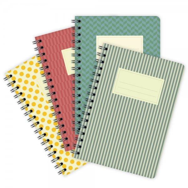 4er-Pack Notizblöcke Farbige Muster A6