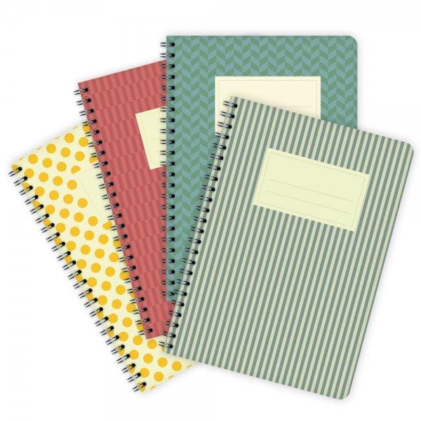 4er-Set Notizblöcke Farbige Muster A5