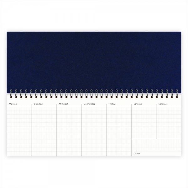 Wochenkalender Quer-Format Dunkelblau
