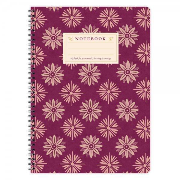 Notizblock Lila Blumen Muster A4