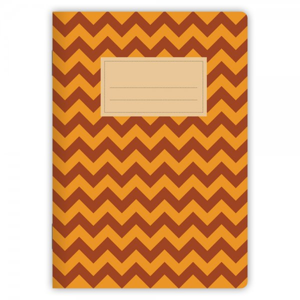 Notizheft Chevrons Orange-Rot A5