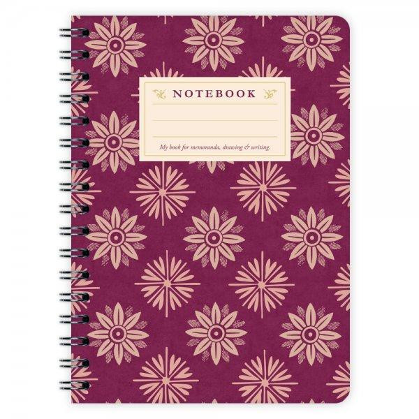 Notizblock Lila Blumen Muster A6