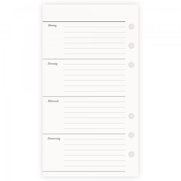 Einlagen Personal | 1 Woche 2 Seiten | undatiert liniert
