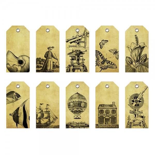 10er-Paket Geschenkanhänger Vintage