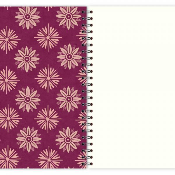 Notizblock Lila Blumen Muster A5