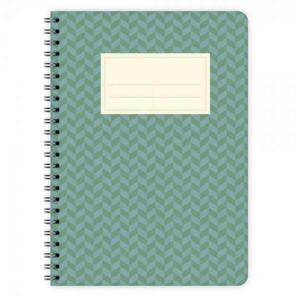 Notizblock Muster Grün-Blau A5