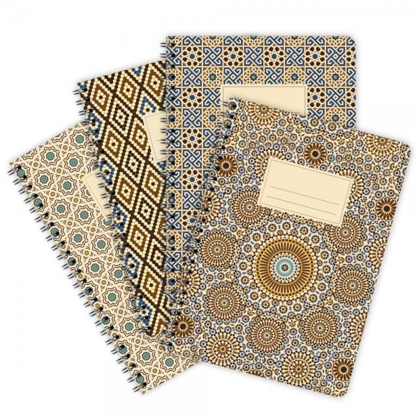 4er-Pack Notizblöcke Muster Marokko A5